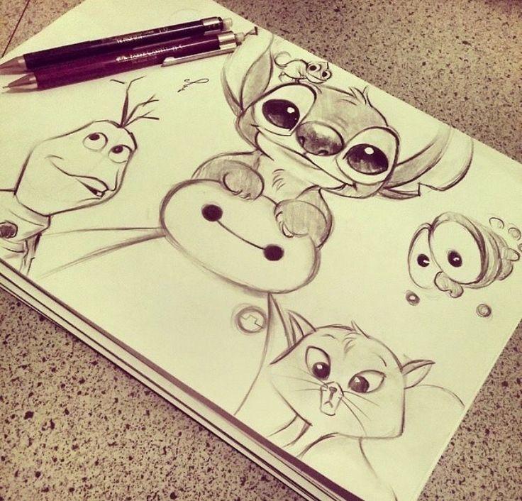Disney characters in pencils
