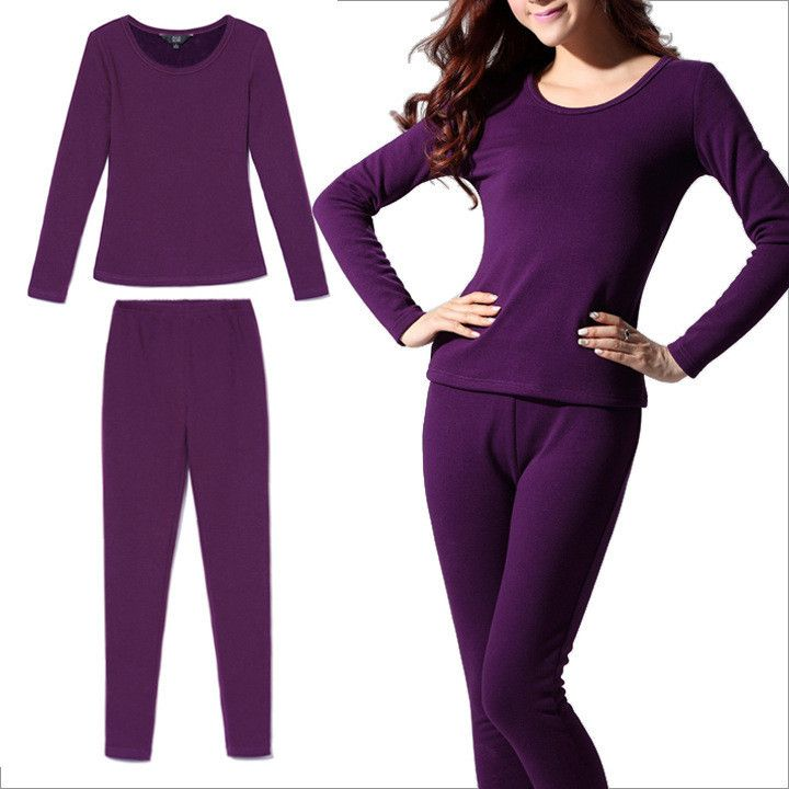 High Quality Women Thermal Underwear Set Autumn Winter Long Johns Thick Fleece Warm Tops+Pants Sexy Underwear Set Plus Size