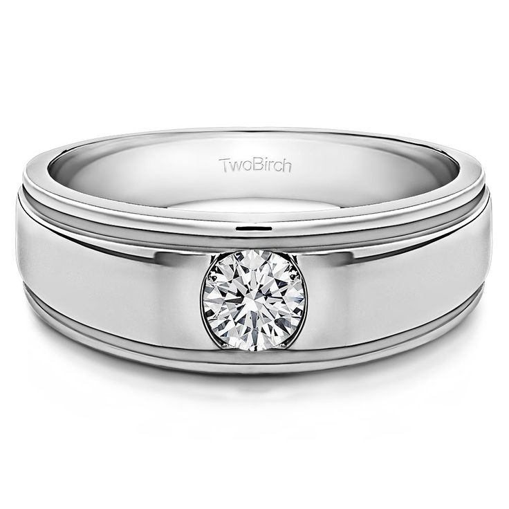 10k Gold Men's Wedding Ring with Forever Brilliant Moissanite by Charles Colvard (0.22, Cts) (10k Yellow gold, Size 8) (solid)