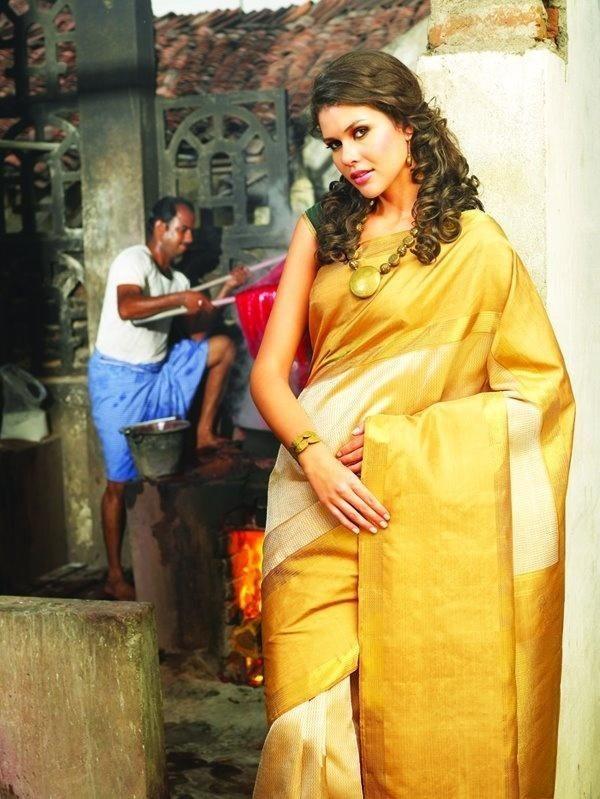 Gold bridal silk saree 2