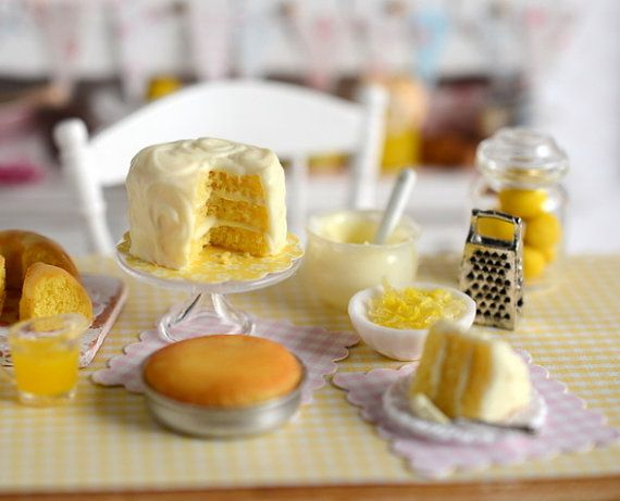 Miniature Making Lemon Cake Set by CuteinMiniature on Etsy