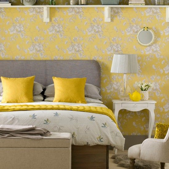 Yellow and grey motif bedroom | Yellow and grey decorating ideas | Ideal Home | Housetohome.co.uk