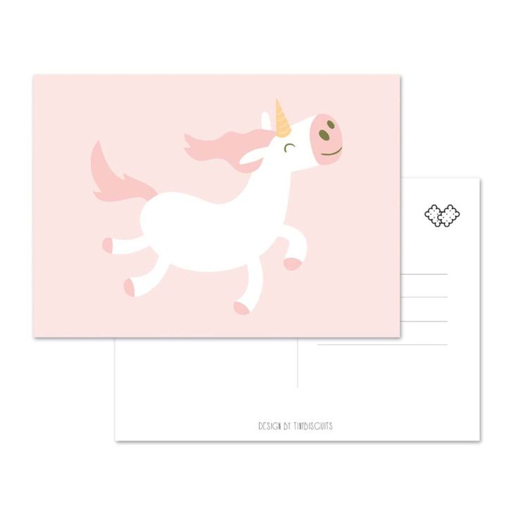 Kaart Eenhoorn Grappige unicorn kaart. A6 formaat Stevig 400 grams papier Postkaart achterzijde