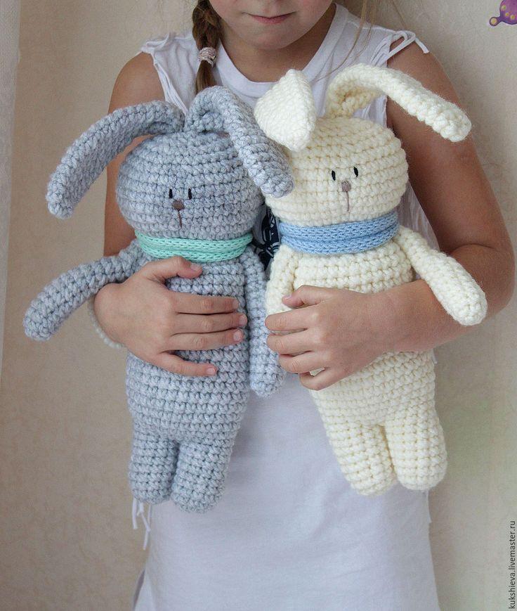Купить Заяц вязаный. - белый, зайц, игрушка заяц, подарок, подарок на новый год, подарок на рождение