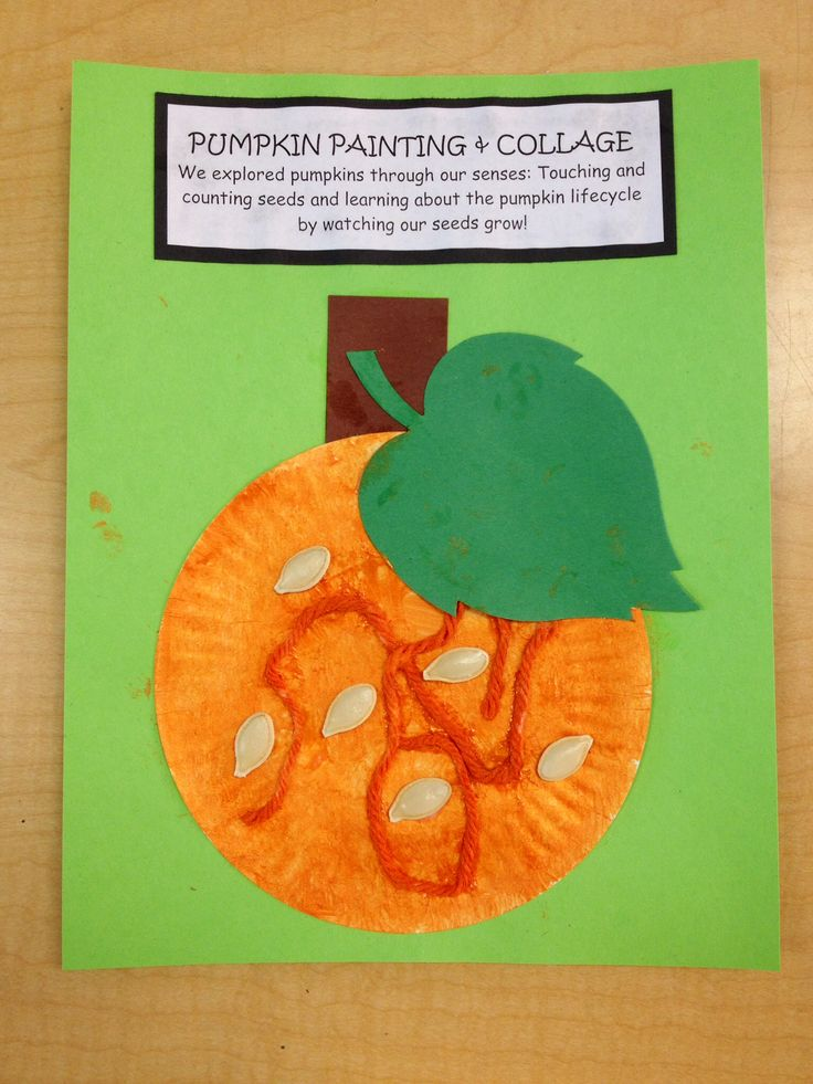 Preschool Pumpkin painting and collage art. Hang paper plates on the easel for children to paint with brushes using gold and orange paint.  Let dry.  Next day, Provide orange yarn, pre-cut leaf and stem, real dried pumpkin seeds for children to collage on with glue. This is my sample. Children's art will vary and be unique to their individual stage, creativity, and interest.