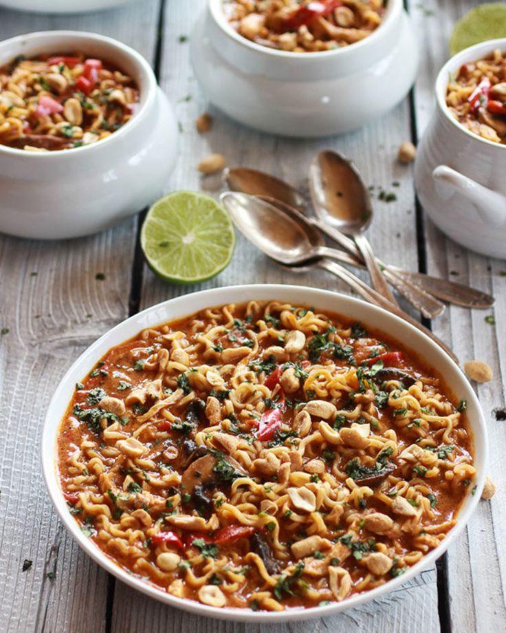 5. Thai Peanut Chicken and Ramen Noodle Soup #healthy #ramen #recipes http://greatist.com/eat/healthier-ramen-recipes