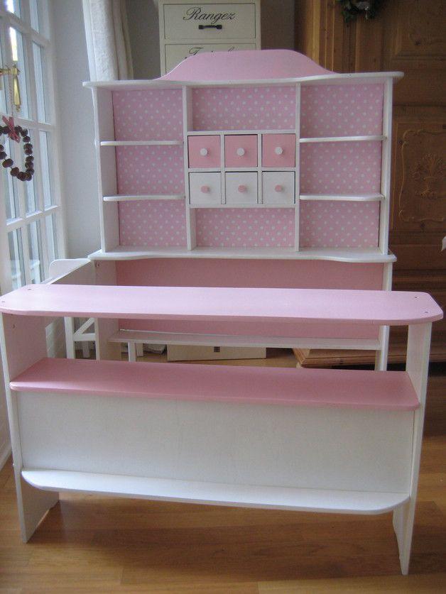Kaufmannsladen & Küche - Shabby Kaufladen ♥ Rosa Dots - ein Designerstück von Minikinder bei DaWanda