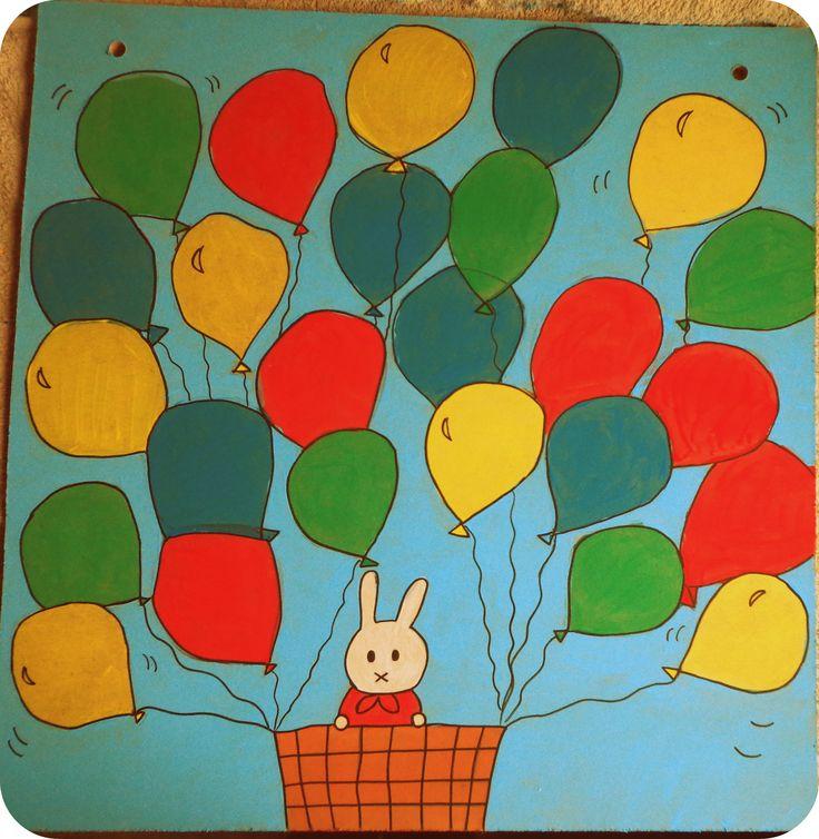 zelfgemaakt bord voor de aanwezigheden thema nijntje konijntje