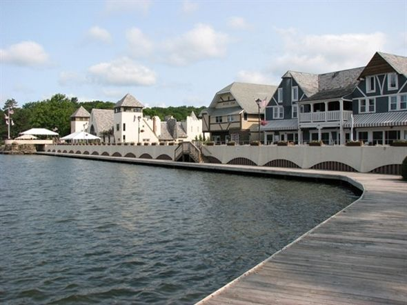 Boardwalk at Lake Mohawk in Sparta  Featuring restaurants