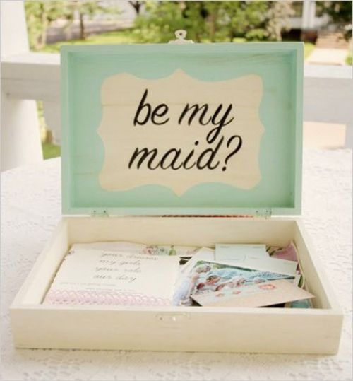 Wedding Bells: 5 Creative Ways to Ask Your Bridesmaids.  Exhibit C: Provide them with tools they'll need to get you down the aisle (needle and thread, bandaids, bobby pins...) and tools they'll need to survive your bridal craziness (bottle of bubbly, aspirin, more bobby pins...)