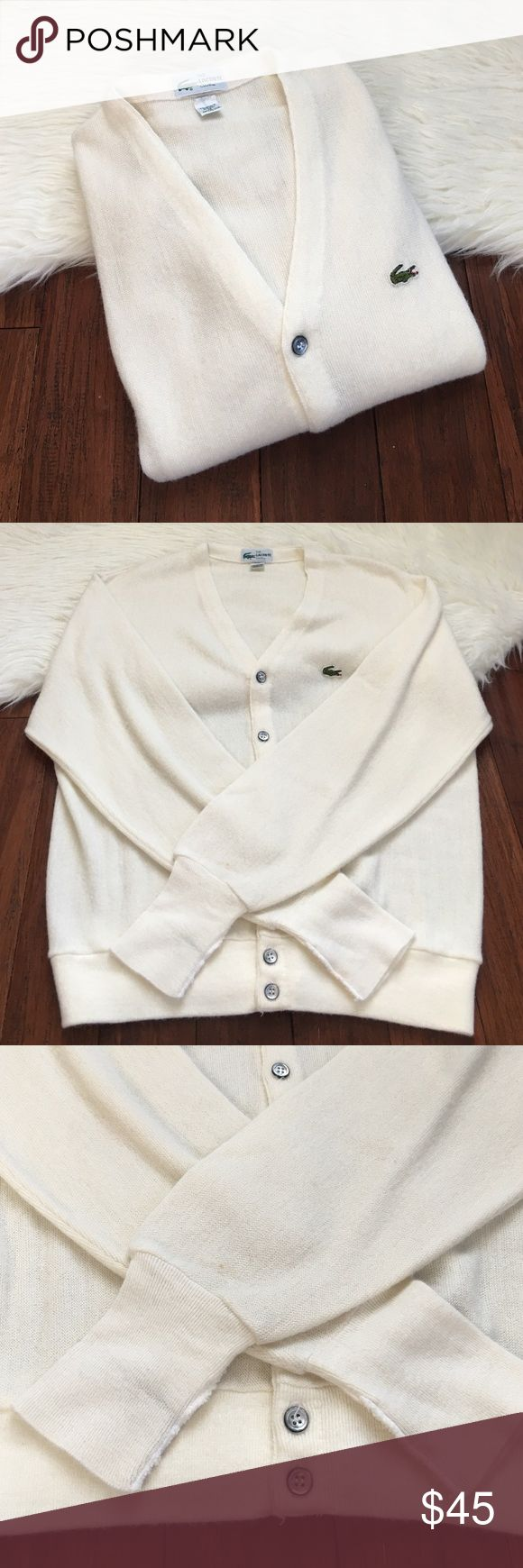 Men's | Lacoste Club | Vintage White Cardigan In excellent condition. No flaws except one small spot on the sleeve. Can easily come out. 100% orlon acrylic. Lacoste Sweaters Cardigan