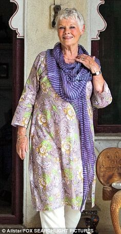 Judi Dench in an Indian tunic. You can blend cultures at any age!  diya-boutique.com