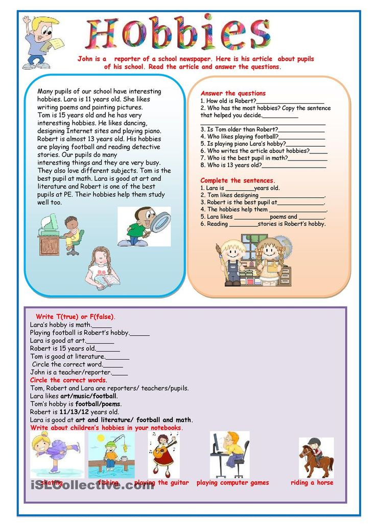 free time activities reading comprehension pdf