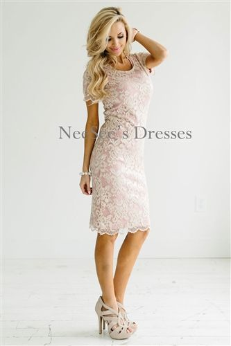 Champagne Pink Lace Modest Bridesmaids Dress, Church Dresses, dresses for…