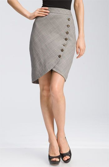Ted Baker London Button Front Plaid Tulip Skirt    A unique, curved seam lined in tortoise shell buttons adds a chic edge to a sophisticated plaid skirt.  Back vent.  Lined.  Viscose rayon/wool/elastane; dry clean.  By Ted Baker London; imported.  Individualist.  item #534155  $199.00