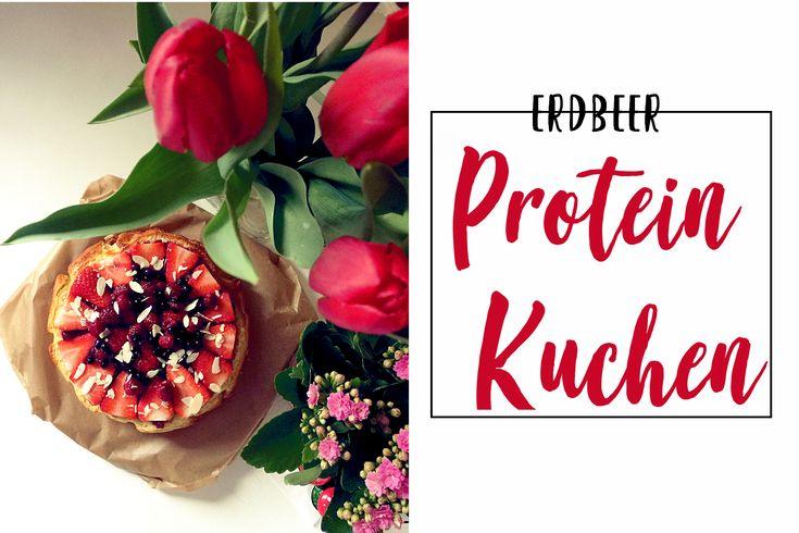 Leckeres Rezept für einen Proteinkuchen mit Erdbeeren. In der Diät sowie zum M…