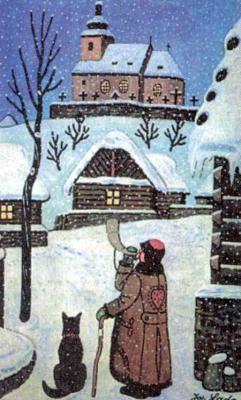 Josef Lada, I remember this as a christmas postcard