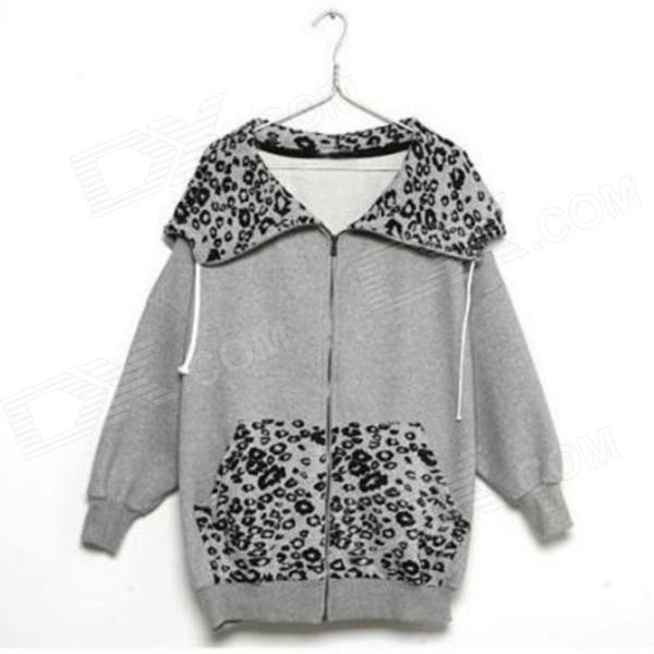Woman's Fashionable Leopard Print Zipper Cotton Blazer w/ Hood - Grey
