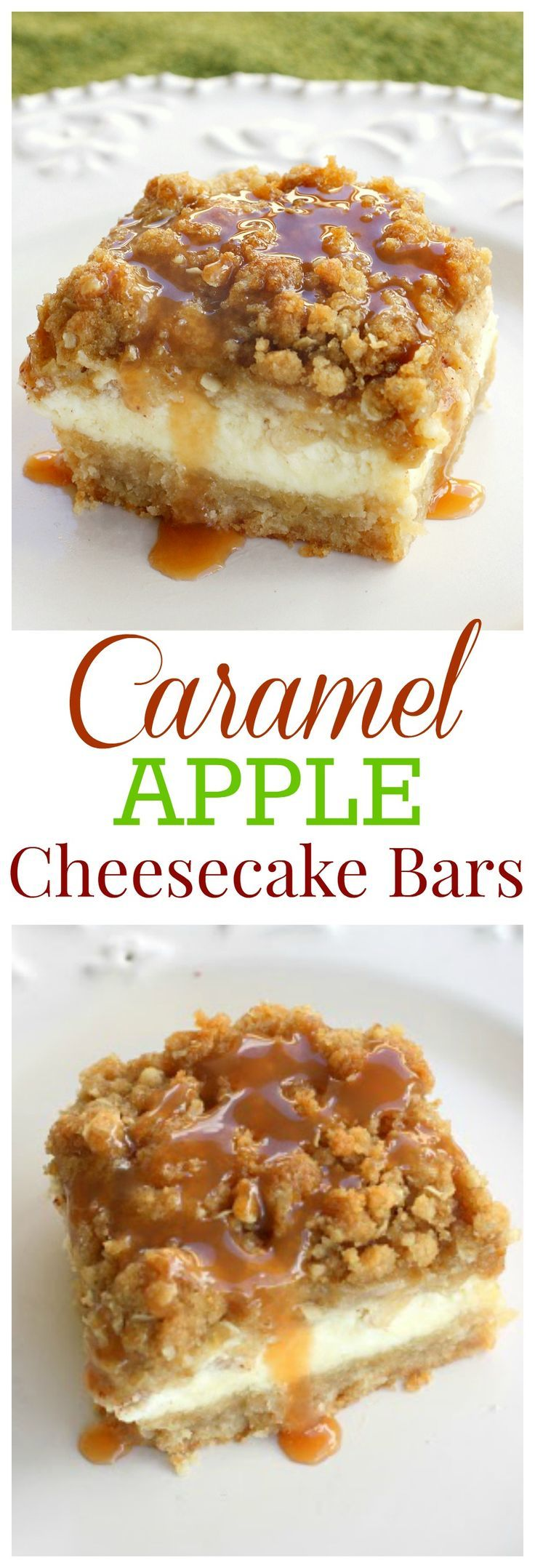 Caramel Apple Cheesecake Bars Recipe - a shortbread crust, a cheesecake layer topped with diced cinnamon apples and a sweet streusel topping.