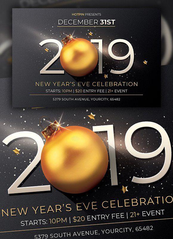 New Year Flyer Invitation By Hotpin On Creativemarket Newyear