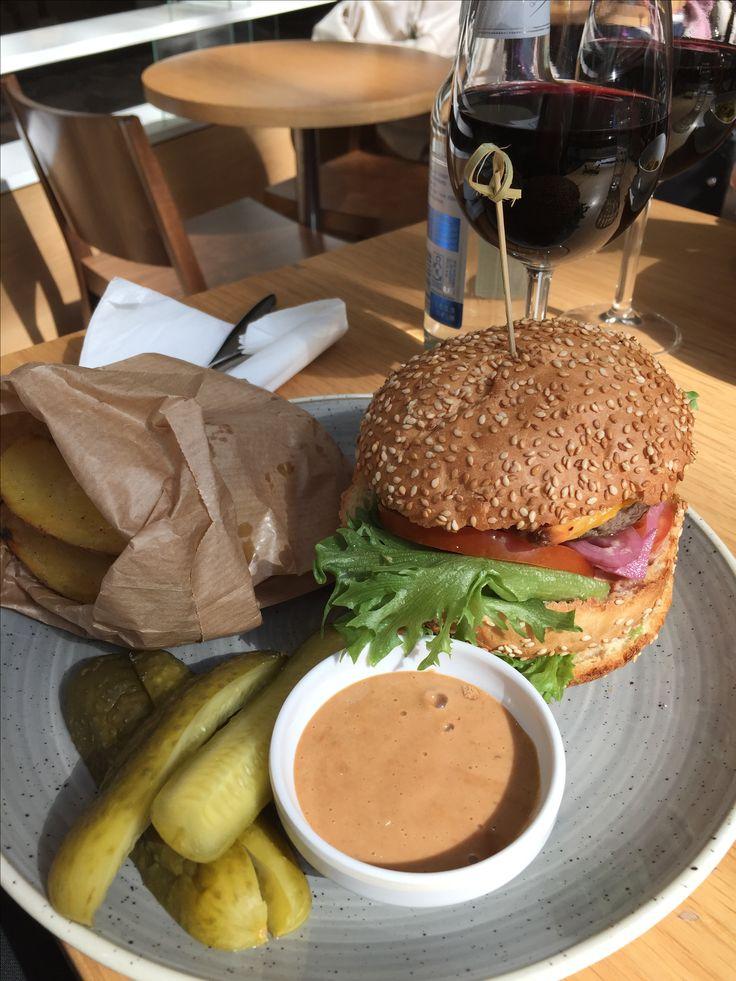 Hamburger snd fries in cafe Reval in Virukeskus, Tallinn