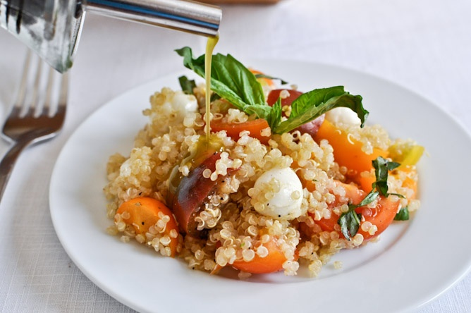 Caprese Quinoa with Homemade Basil Oil