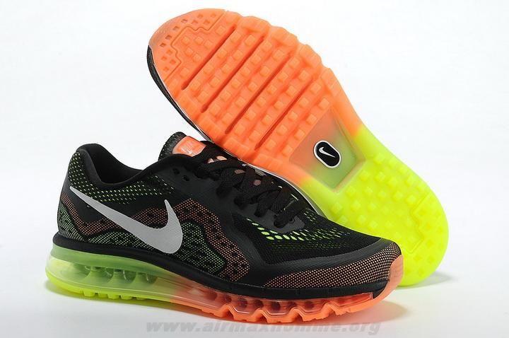 2014 Nike Air Max 2014 Noir Orange Blanc Femmes Chaussures