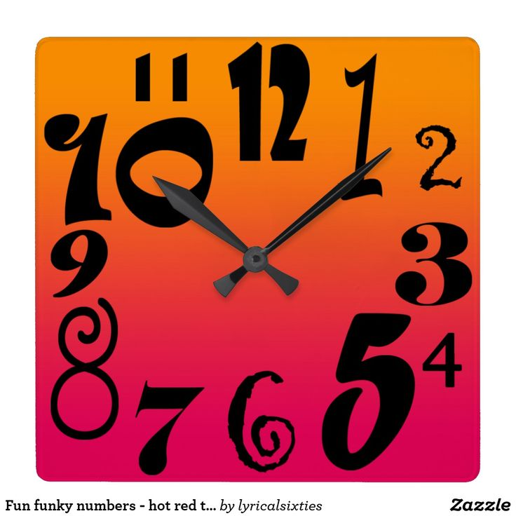Fun funky numbers - hot red to orange gradient square wall clock For a fun look if you love shocking bright reds and oranges, this is a stylish clock with funky numbers, in different sizes and syles, on a shaded gradient red to orange clock face.