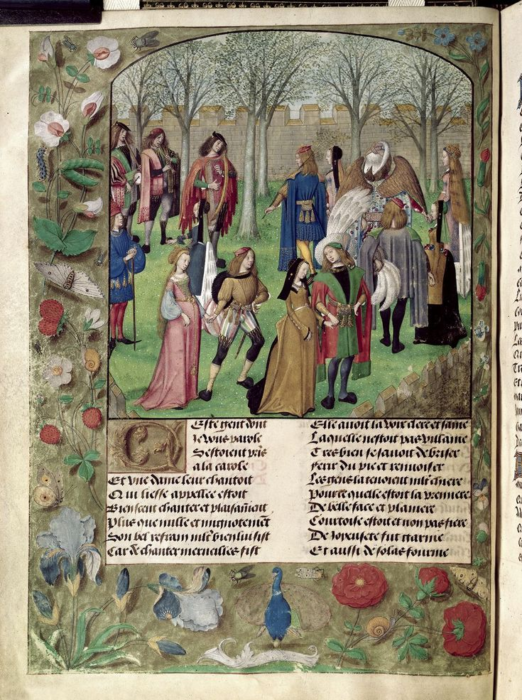 Pretty medieval manuscript of the day shows medieval folk having a boogie… From a richly illustrated edition of the Roman de la Rose, we see a circle dance in the garden of Sir Mirth. Our narrator, dressed in blue, watches on from the side. It's a splendid book, just look at the peacock, the irises, the tiny juicy wild strawberries. Wonderful. Image source: British Library MS Harley 4425. Image declared as public domain on the British Library website.