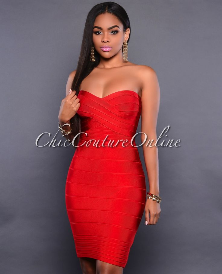 Chic Couture Online Marcelina Red Strapless Bandage