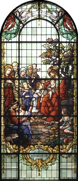 St. John's Catholic Newman Center at the University of Illinois | Serve | Jesus and Children ~ Window Text  Top: Suffer the little children to come unto me and forbid them not.  Bottom: For of such is the Kingdom of Heaven.
