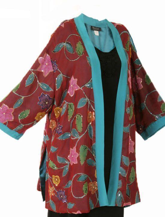 Plus Size Formal Kimono Jacket Floral Silk Beaded Artwear Turquoise Red:  SHOP NOW: Unique jackets for women Sizes 14 - 36, mother of the bride, special occasion, artwear, elegant and unique women's clothing,xoPeg #plussizesale #PeggyLutzPlus #PlusSize #style #plussizestyle #plussizeclothing #plussizefashion #womenstyle #womanstyle #womanfashion #holidaysale #holidaystyle #fallstyle #fallfashion #fallformal #eveningwear #longcoats #style #couture #elegantwoman #elegantplus #uniquejackets
