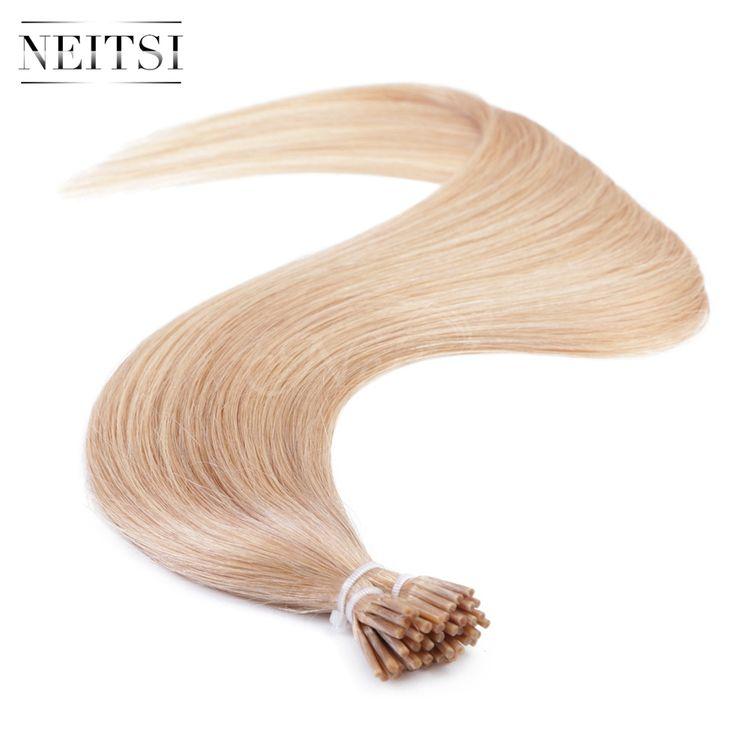 "Neitsi I Tip Stick Tip Keratin Human Hair Extensions Brazilian Virgin Remy Hair Straight 20"" 1g/s 50g 100g 14# Medium Blonde"