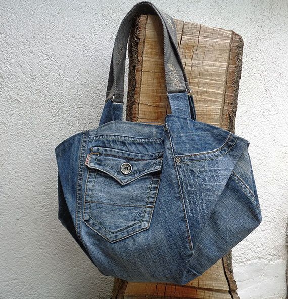 Large tote bag handbag purse shopper weekend recycled by BukiBuki