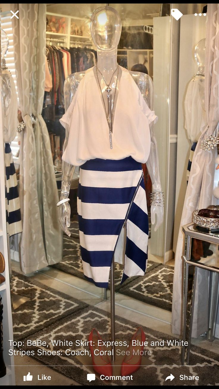 White Shirt with blue and white stripped skirt