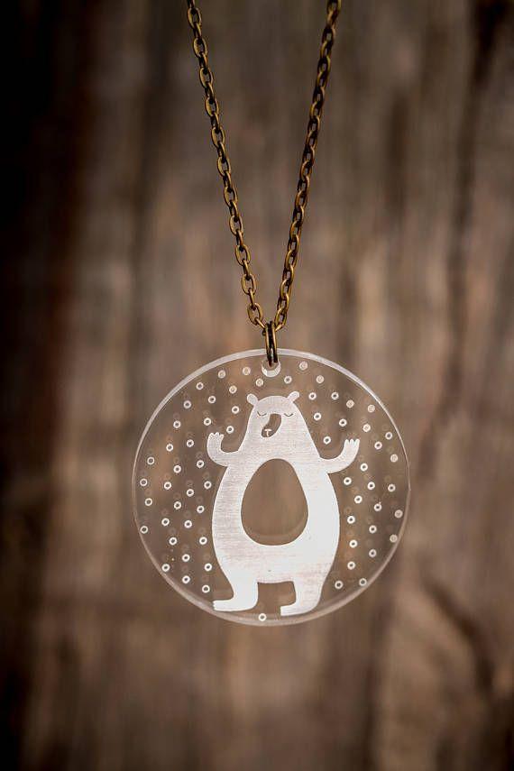 NEW - WINTER BEAR pendant necklace; woodland; bear; snow; clear acrylic