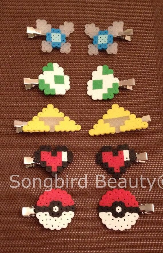 Video game Hair clips perler beads geekery by SongbirdBeauty $5.00  www.etsy.com/shop/songbirdbeauty