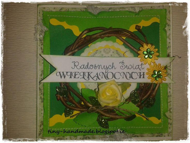 Kartka wielkanocna w zieleni i żółciWyzwanie
