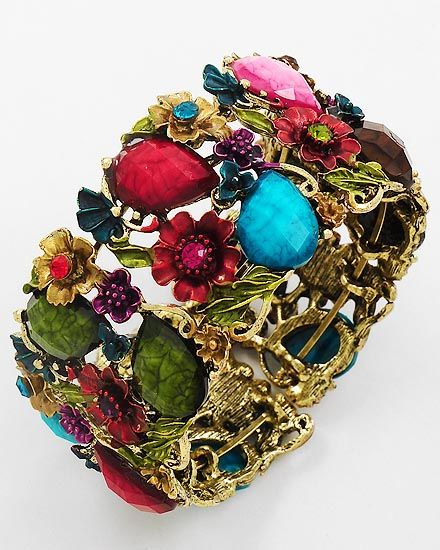 secret garden bracelet- peridot, ruby, amethyst and teal