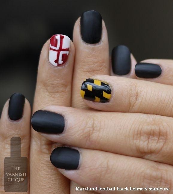 maryland pride manicure: Maryland Football, Beautiful Ideas, Maryland Pride, Hair Mak Up Nails, Maryland Nails, Matte Black, Flags Nails, Maryland Flag, Black Helmets