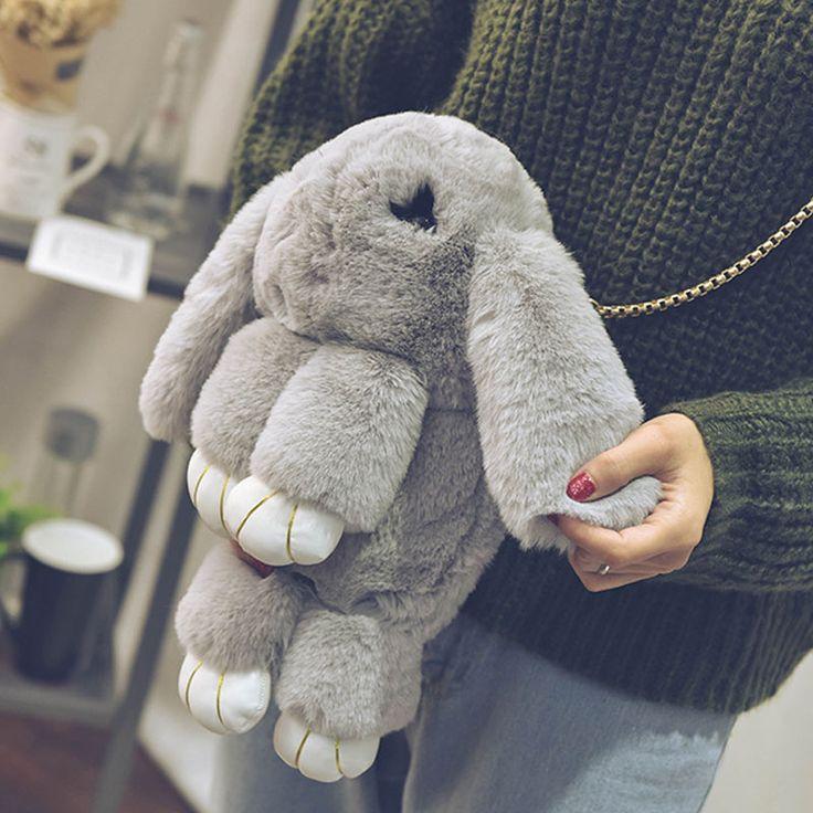 New Lovely play dead rabbit fur leather chain bag female models new winter grass bag diagonal shoulder bag rabbit cute bag XA81B