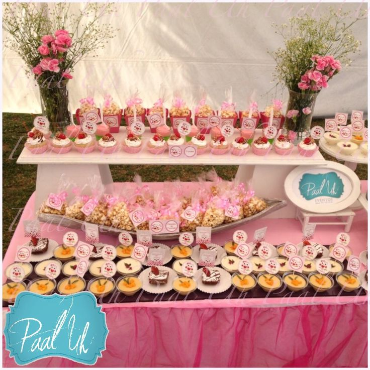 Paal uh mesa de postres snacks dulces rosa b ho for Mesa dulce para baby shower