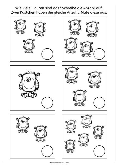 Simultanerfassung: Monster, Roboter, Luftballons und Muffins, rechnen, Mathe, Dyskalkulie, Kinder, Eltern, kostenlos, Arbeitsblatt, Schule, Grundschule, Vorschule, Förderschule
