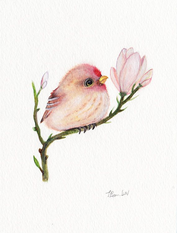 Baby bird Original watercolor painting 5x7 by OneWildKingdom, $28.00