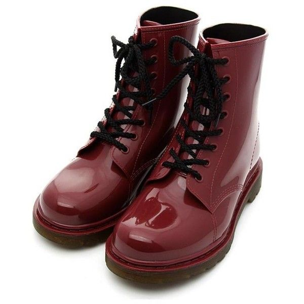 Classic Oxblood Rubber Rain Boot with Lace Up Front ($70) ❤ liked on Polyvore
