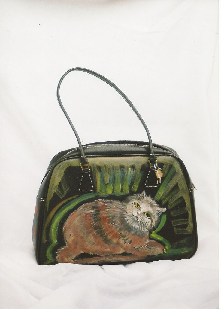 Painted cat bag design.Created by the artist on the old bag. Glass eyes. Color fixed with fixative that ensures durability.