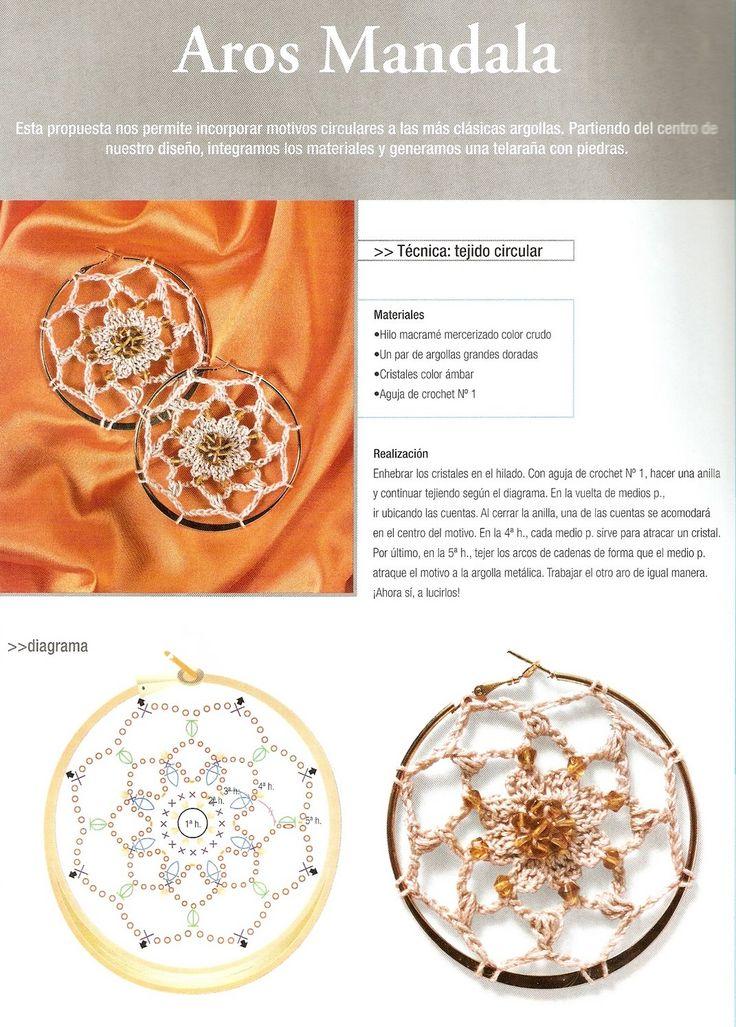 Patrones para Crochet: Pendientes Mandala de Crochet