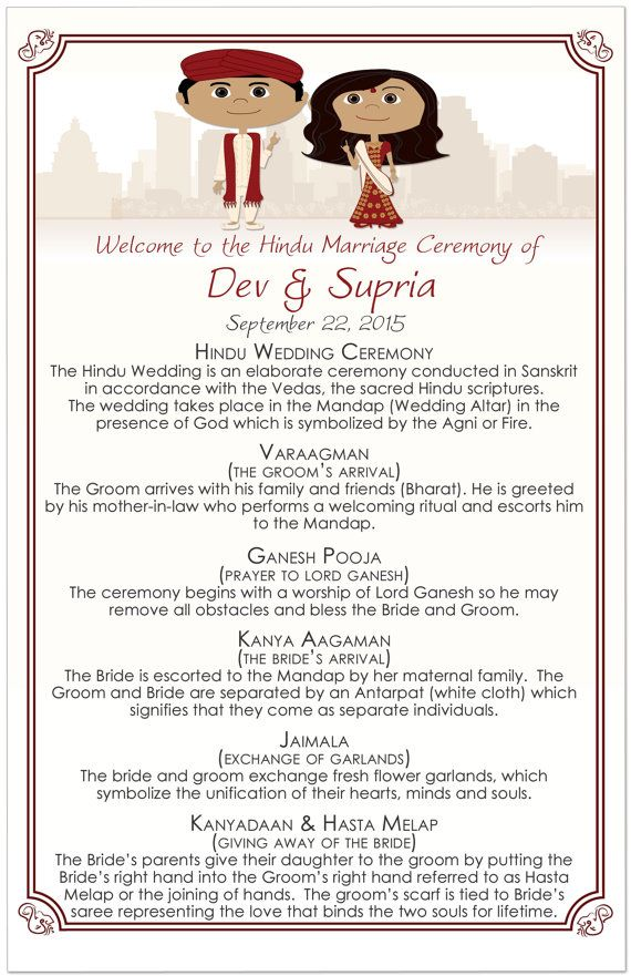 Hindu Wedding Programs Hindu Wedding Order of by