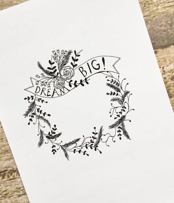 Illustration ink print 5x 7  Floral wreath with