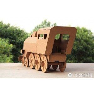 Pociąg z Kartonu - Duża Lokomotywa z Papieru do Samodzielnego Złożenia. Kreatywna zabawka z grubego kartonu do malowania